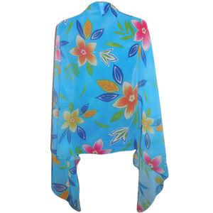 Scarf Long Chiffon Blue Pink Floral  Shawl Wrap